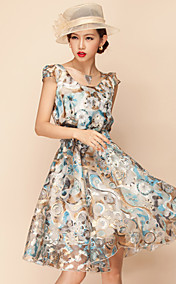 YEMEN ROSE Vintage Organza Swing Dress