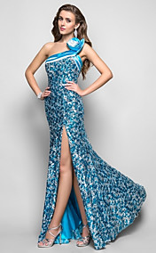 Trumpet/Mermaid One Shoulder Floor-length Sequined Evening Dress
