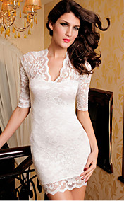 Ladies V-neck Mini Slim Lace Dress