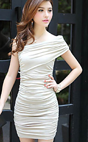 Women's One Shoulder Pleated Gathered Mini Dress
