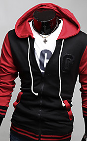 Men'S Zipper Contract Color Long Sleeve Hoodie
