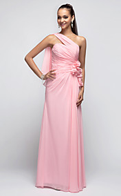 Sheath/Column One Shoulder Floor-length Chiffon Evening/Prom Dress With Side Draping