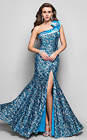 Trumpet/Mermaid One Shoulder Floor-length Sequined Evening Dress