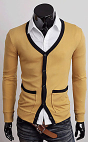 Men's Contrast Color V-neck Cardigan Sweater