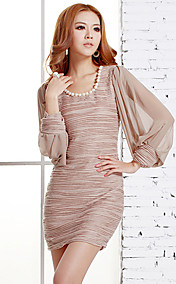 Women's Beads Neckline Pleats Gathered Mesh Puff Sleeve Mini Dresses
