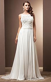 A-line/Princess Straps Court Train Chiffon Wedding Dress