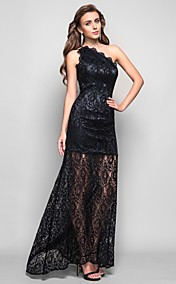 Trumpet/Mermaid One Shoulder Asymmetrical /Tea-length Lace cocktail dress