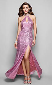 Sheath/Column High Neck Floor-length Sequined Evening Dress