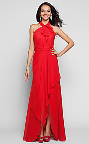 A-line Princess Strapless Floor-length Tulle And Satin Evening Dress (551350)