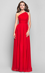 Sheath/Column One Shoulder Floor-length Chiffon Evening Dress (551342)