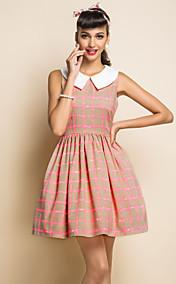 TS VINTAGE Wide Lapel Check Pattern Dress
