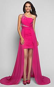Sheath/Column  One Shoulder  Asymmetrical  Chiffon Evening Dress