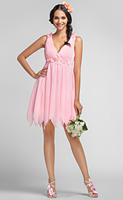 A-line Princess V-neck Short/Mini Chiffon Bridesmaid Dress