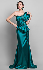 Trumpet/Mermaid One  Shoulder Stretch Satin  Floor-length Evening Dress