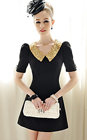 Pink Doll Elegant Sequin Collar Mini Dresses
