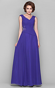 A-line Princess V-neck Floor-length Chiffon Mother of the Bride Dress