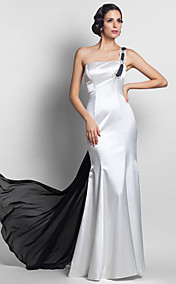 Trumpet/Mermaid  One Shoulder  Stretch Satin Chiffon Floor-length Evening Dress