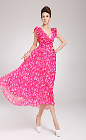 Women's Ruffle Sleeves Asym Hemline Maxi Dress