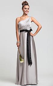 Sheath/Column One Shoulder Natural Floor-length Satin Chiffon Bridesmaid Dress