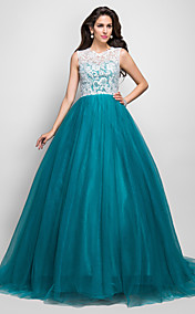 A-line Princess Jewel Sleeveless Sweep/Brush Train Beading Lace And Tulle Evening Dress With Buttons