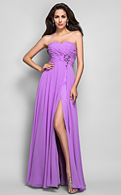 Sheath/Column Sweetheart Floor-length Beading Chiffon Evening Dress
