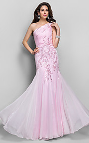 Trumpet/Mermaid One Shoulder Floor-length Beading Chiffon Evening Dress