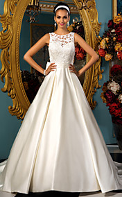 A-line Princess Bateau Satin Lace Wedding dress