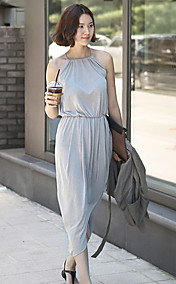 Women's Halter Pleats Slim Waist Asym Hem Midi Dresses