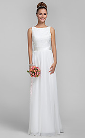 Sheath/Column Bateau Chiffon and Lace Bridesmaid Dress