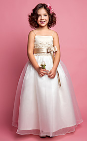 A-line Princess Spaghetti Straps Organza And Satin Flower girl Dress(618896)