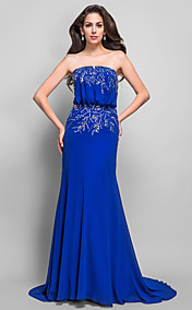 Sheath/Column Strapless Sweep/Brush Train Beading Chiffon Evening Dress