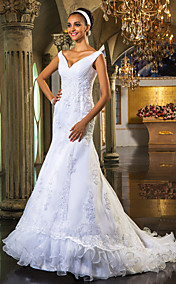 Trumpet/Mermaid Off-the-shoulder  Court Train Organza Wedding Dress