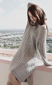 Women's Loose Knitwear Cutwork Asym Hem Midi Dresses