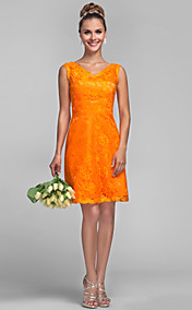 Sheath/Column V-neck Lace Bridesmaid Dress