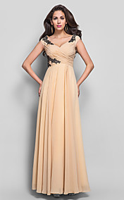Sheath/Column V-neck Floor-length Appliques Chiffon Evening Dress