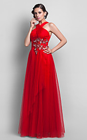Sheath/Column  Halter Tulle  Floor-length Evening Dress