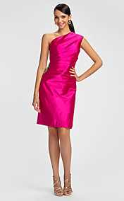 Sheath/Column One Shoulder Knee-length Stretch Satin Bridesmaid Dress