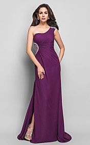 Sheath/Column One Shoulder Floor-length Beading Chiffon Evening Dress