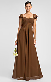 Sheath/Column Spaghetti Straps Sweetheart Floor-length Chiffon Bridesmaid Dress