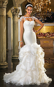Trumpet/Mermaid Sweetheart Sweep/Brush Train And Organza And Tulle Wedding Dress(519036)