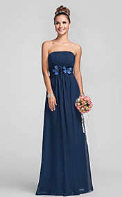 Empire Strapless Floor-length Chiffon Over Satin Bridesmaid Dress With Flower(s)