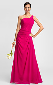 A-line One Shoulder Floor-length Criss Cross