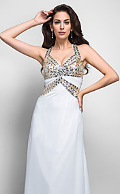 Sheath/Column V-neck Halter Sweep/Brush Train Crystal Detailing Chiffon Evening Dress