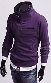 Men's Diagonal Zipper Stand Collar Fleece Jacket(Zipper Random)