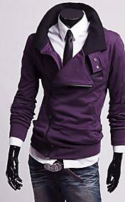 Men's Diagonal Zipper Stand Collar Fleece Jacket(Zipper Random)