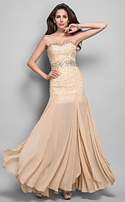Sheath/Column Sweetheart Sleeveless Floor-length Beading Chiffon Evening Dress