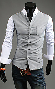 Men'S Contract Color Long Sleeve Shirt