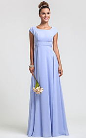 Sheath/Column Square Floor-length Chiffon Bridesmaid Dress