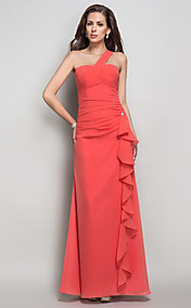 Sheath/Column  One Shoulder Chiffon  Floor-length Evening Dress
