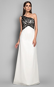 Sheath/Column One Shoulder Floor-length Lace and Chiffon Evening Dress